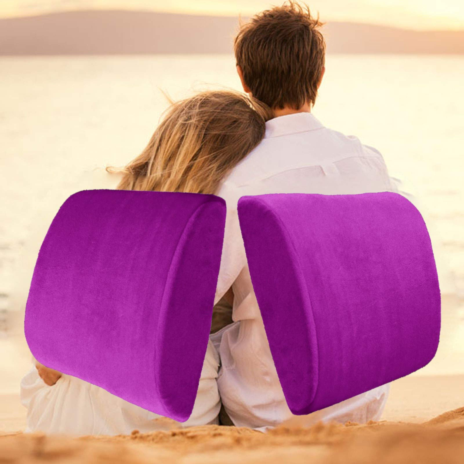 Bookishbunny 2 Pack Memory Foam Lumbar Support Back Pillow Pain Relief Office Car Cushions (Purple)