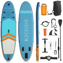 Kicode Stand Up Paddle Board 10'6'' x 32'' x 6'' Premium Inflatable SUP Paddleboards Accessories & 10L Waterproof Bag, Bag, Fins, Non-Slip Deck, Leash, Paddle, and Pump, Waterproof Phone Pouch