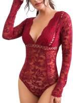 Women's Lace Bodysuit Long Sleeve Sexy Teddy Bodysuit Plus Size