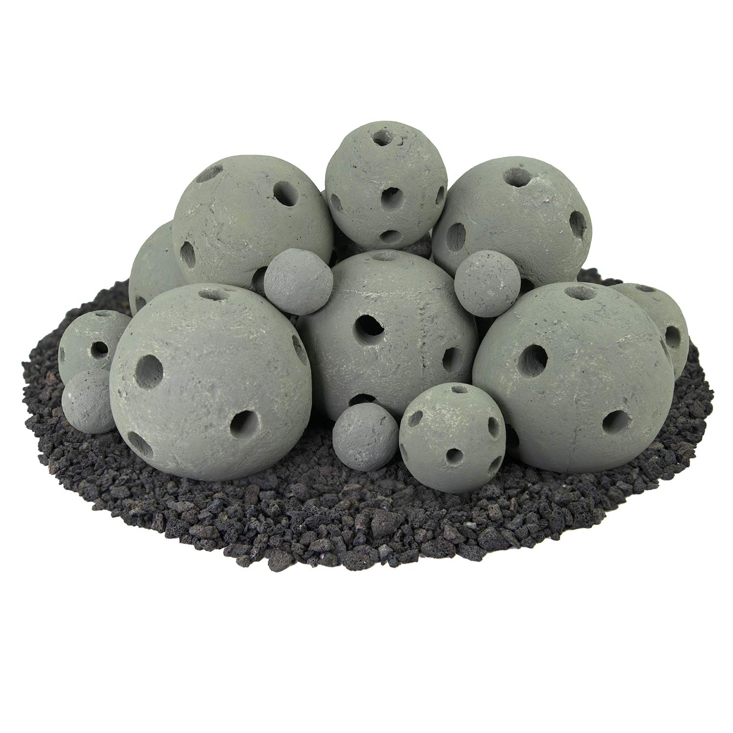 Hollow Ceramic Fire Balls   Mixed Set of 23   Modern Accessory for Indoor and Outdoor Fire Pits or Fireplaces – Brushed Concrete Look   Pewter Gray