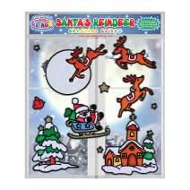 Santa's Reindeer Christmas Seasonal Flexible Gel Clings – Reusable Glass Window Clings for Kids, Toddlers - Incredible Xmas Gel Decals of Reindeer, Snow, Santa, Home, Airplane, Classroom, Nursery