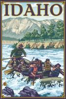 White Water Rafting - Idaho (16x24 Giclee Gallery Print, Wall Decor Travel Poster)