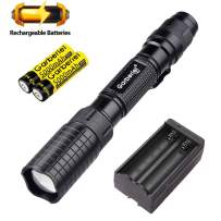 Garberiel Black LED Flashlight 5 Modes Adjust Focus Rechargeable Flashlight 4000 Lumens Aluminum Alloy Waterproof Torch with Battery and Charger