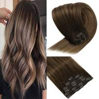 VeSunny Thick Clip in Hair Extensions Real Human Hair 16inch Balayage Ombre Color Brown Fading to Caramel Blonde Highlighted Double Weft Hair Extensions Clip in Extension for Full Head 7pcs/120g