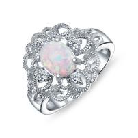 Vintage Style Cubic Zirconia Ornate Filigree Oval Flower White Created Opal Boho Full Finger Ring 925 Sterling Silver