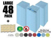Arrowzoom New 48 Pack of (19.6 in X 19.6 in X 1.1 in) Convoluted Foam Soundproofing Insulation Egg Crate Acoustic Wall Padding Studio Foam Tiles (Baby Blue)