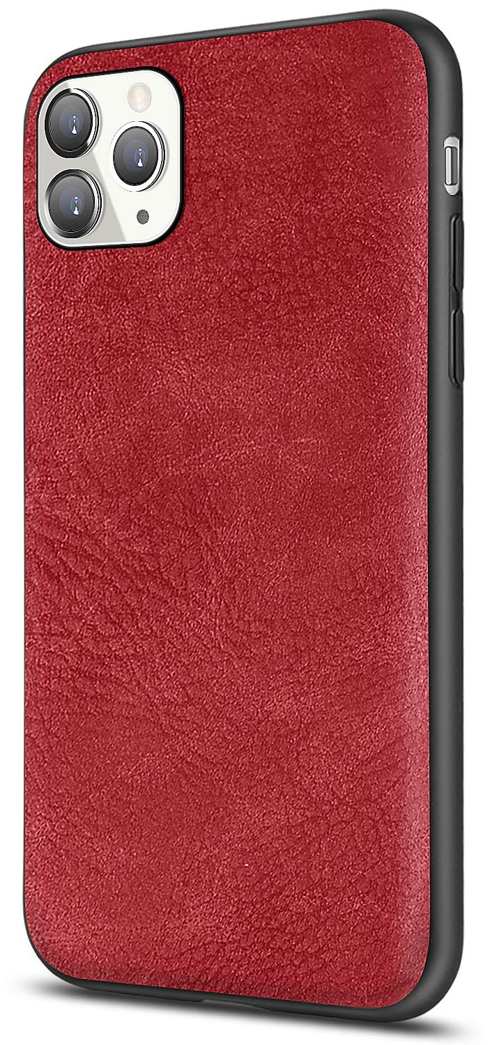 SALAWAT for iPhone 11 Pro Max Case, Slim PU Leather Vintage Shockproof Phone Case Cover Lightweight Soft TPU Bumper Hard PC Hybrid Protective Case for iPhone 11 Pro Max 6.5 Inch 2019 (Red)