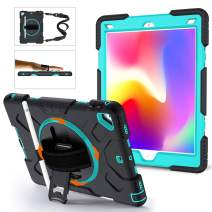 GROLEOA iPad 5th 6th Generation Case Anti-Drop Rugged Protective iPad 2018/2017 9.7 Case 360 Rotation Stand+Hand Strap+Shoulder Strap+Pencil Holder Case for iPad 5th 6th Air 2 Pro 9.7 (Sky Blue+Black)