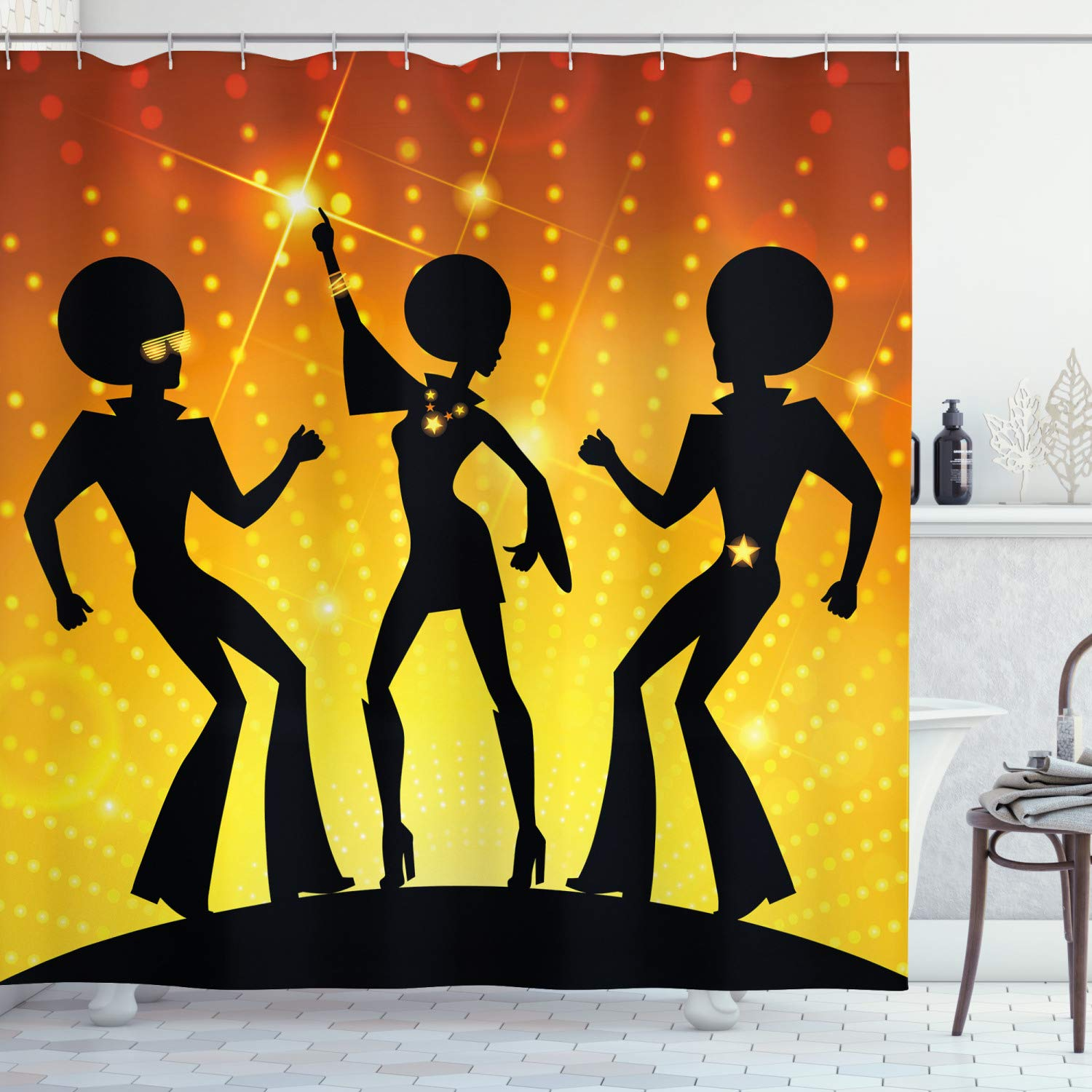 """Ambesonne 70s Party Shower Curtain, Dancing People in Disco Night Club with Afro Hair Style Bokeh Backdrop, Cloth Fabric Bathroom Decor Set with Hooks, 84"""" Long Extra, Orange Yellow"""
