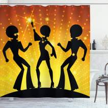 """Ambesonne 70s Party Shower Curtain, Dancing People in Disco Night Club with Afro Hair Style Bokeh Backdrop, Cloth Fabric Bathroom Decor Set with Hooks, 75"""" Long, Orange Yellow"""