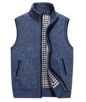 LemonGirl Mens Casual Slim Full Zip Knitted Sweater Vest with Pocked