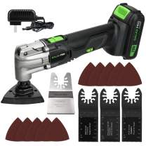 GALAX PRO Oscillating Tool, 20V Lithium Ion Cordless Oscillating Multi Tool with 1.3Ah Battery and Charger, 3pcs Blade and 10pcs Sanding Papers for Sanding, Grinding