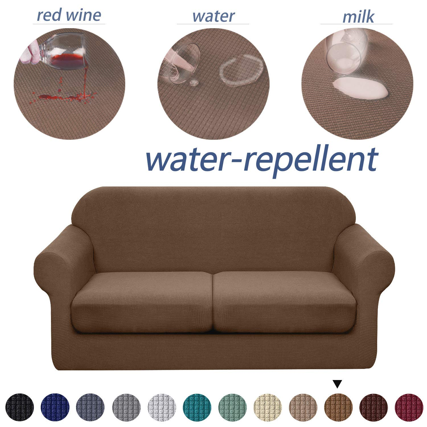 Granbest 3 Piece Premium Water-Repellent Couch Slipcover for 2 Cushion Couch Super Soft Loveseat Sofa Covers High Stretch Separate Cushion Couch Covers for Dogs Furniture Cover (Medium, Coffee)