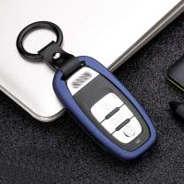 ontto Key Fob Case Cover Zinc Alloy Key Protector Shell Holder Keychain Hollow Out Design Fit for Audi A4L A6L Q5 Blue