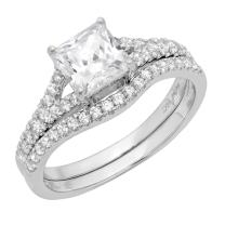 Clara Pucci 2.01 CT Princess Cut Simulated Diamond CZ Pave Halo Bridal Engagement Wedding Ring Band Set 14k White Gold