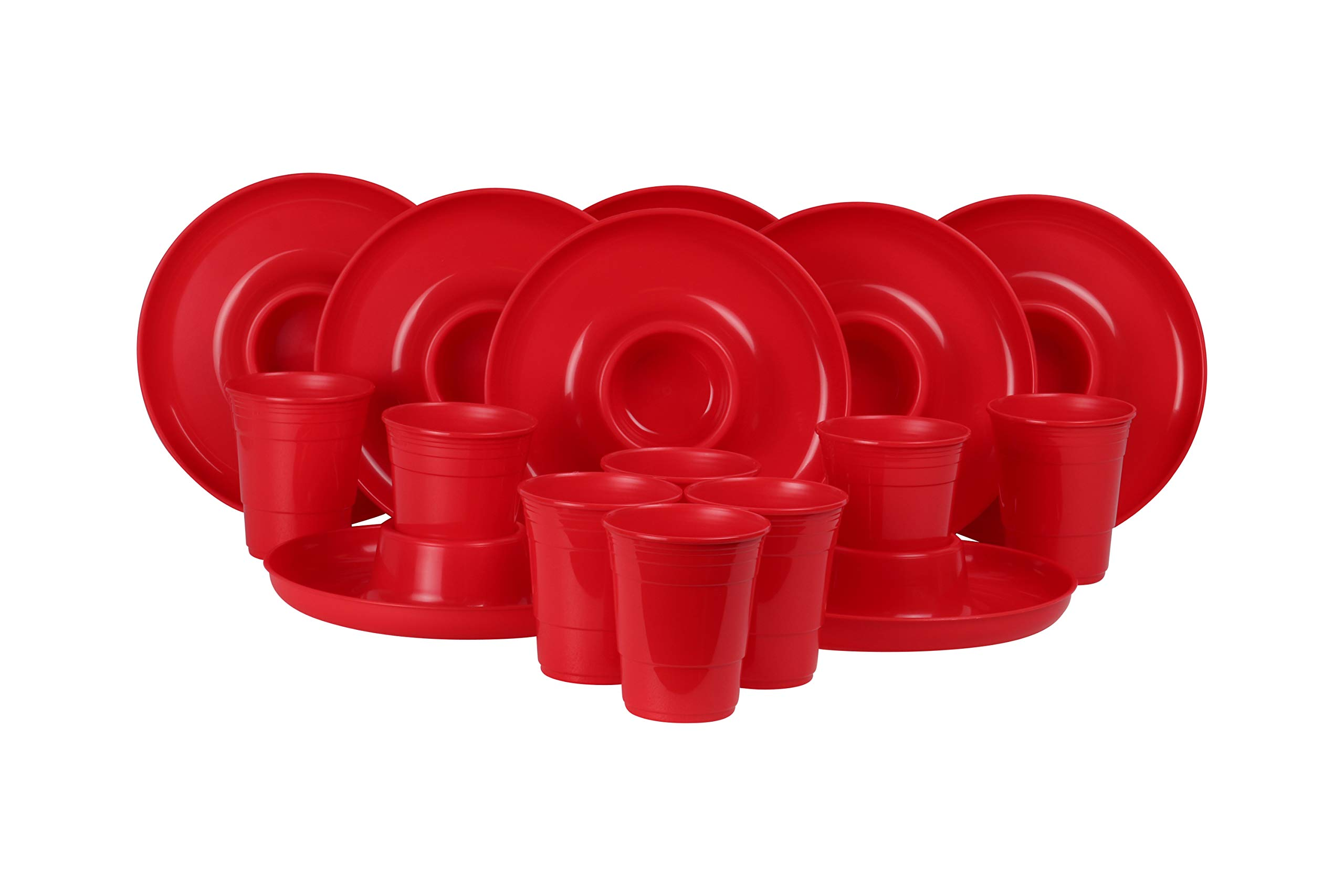 GreatPlate GP-GCP-RED-8x8AZ Red Combo Pack, 8 Red GreatPlates, Food Tray and Beverage Holder, 8 Red GreatCups, Dishwasher Safe, Microwave Safe, Made in USA, Picnics, Parties, Tailgates, Appetizers, Great for Kids