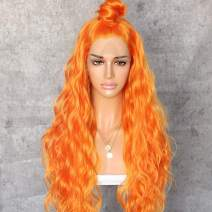 Sapphirewigs Long Orange Color Daily Queen Makeup Gift Curly Style Beauty Blogger Synthetic Lace Front Wedding Party Wigs