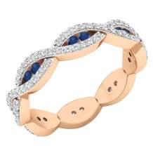 Dazzlingrock Collection 14K Round Gemstone & White Diamond Ladies Eternity Anniversary Wedding Band Ring, Rose Gold
