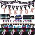 146 Pcs Tik Tok Party Decorations, TIK Tok Party Supplies Pack, TIK Tok Party Favors with Cake Toppers, Happy Birthday Banner, Tablecloth, Balloon, Plate, Pennants, Invitation Cards, Gift Bags