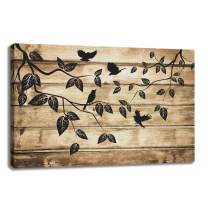 KALAWA Black Tree with Birds Canvas Prints on Vintage Background Modern Home Decor for Living Room Stretched and Framed Ready to Hang(16''W x 24''H)