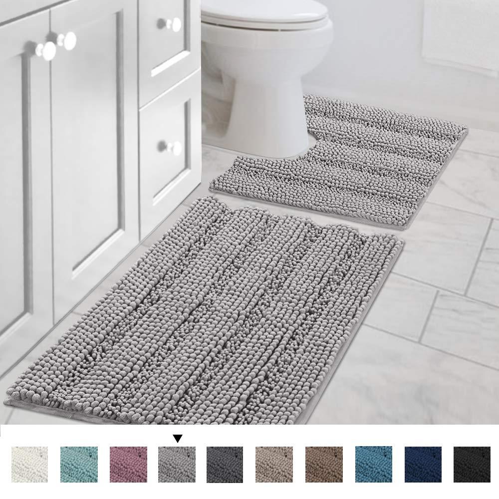 "H.VERSAILTEX Bath Rug Set 2 Piece for Bathroom Non Slip Thick Chenille Bath Rugs Contour and Rectangle, Water Absorbent Fluffy Shag Mats Machine Washable (20"" x 32"" Plus 20"" x 20"" U, Dove)"