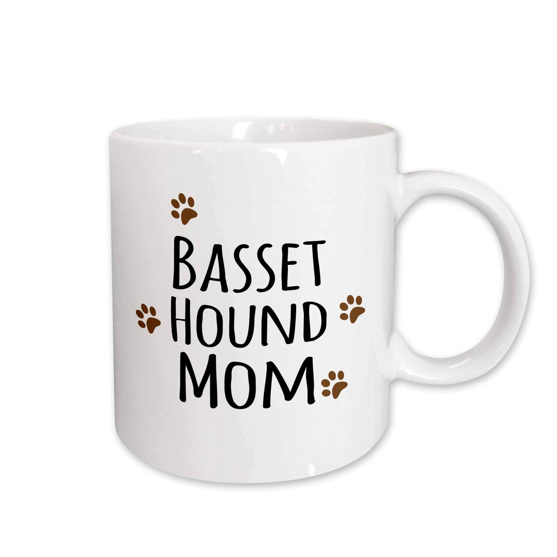 3dRose 154064_1 Basset Hound Dog Mom Mug, 11 oz, Ceramic