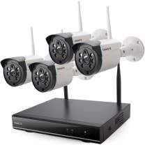 ONWOTE Wireless WiFi Security Camera System Outdoor, 1080P NVR, (4) 960P IP Surveillance Cameras for Home, 80ft Night Vision, Remote Access, Motion Alert, NO Hard Drive
