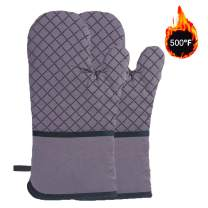 TUOWEI Oven Mitts,Heat Resistance Cotton Oven Mitt,Extra Long Non-Slip Silicone Cooking Gloves for Kitchen,Cooking, Baking,BBQ (Grey)