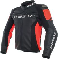 Dainese Men's Racing 3 Perf. Leather Jacket (Black)/Red, 50