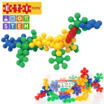 ETI Toys, STEM Learning, 58 Piece Konnectin 3D Molecules. Build Giraffe, Tower, Endless Designs. 100 Percent Safe, Fun, Creative Skills Development. Gift, Toy for 3, 4, 5 Year Old Boys and Girls