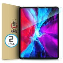 MANTO (2-Pack) Screen Protector for iPad Pro 12.9 Inch (2020 and 2018 Model) Premium Tempered Glass Film Ultra Clear Bubble Free Edge to Edge Design Face ID Compatible