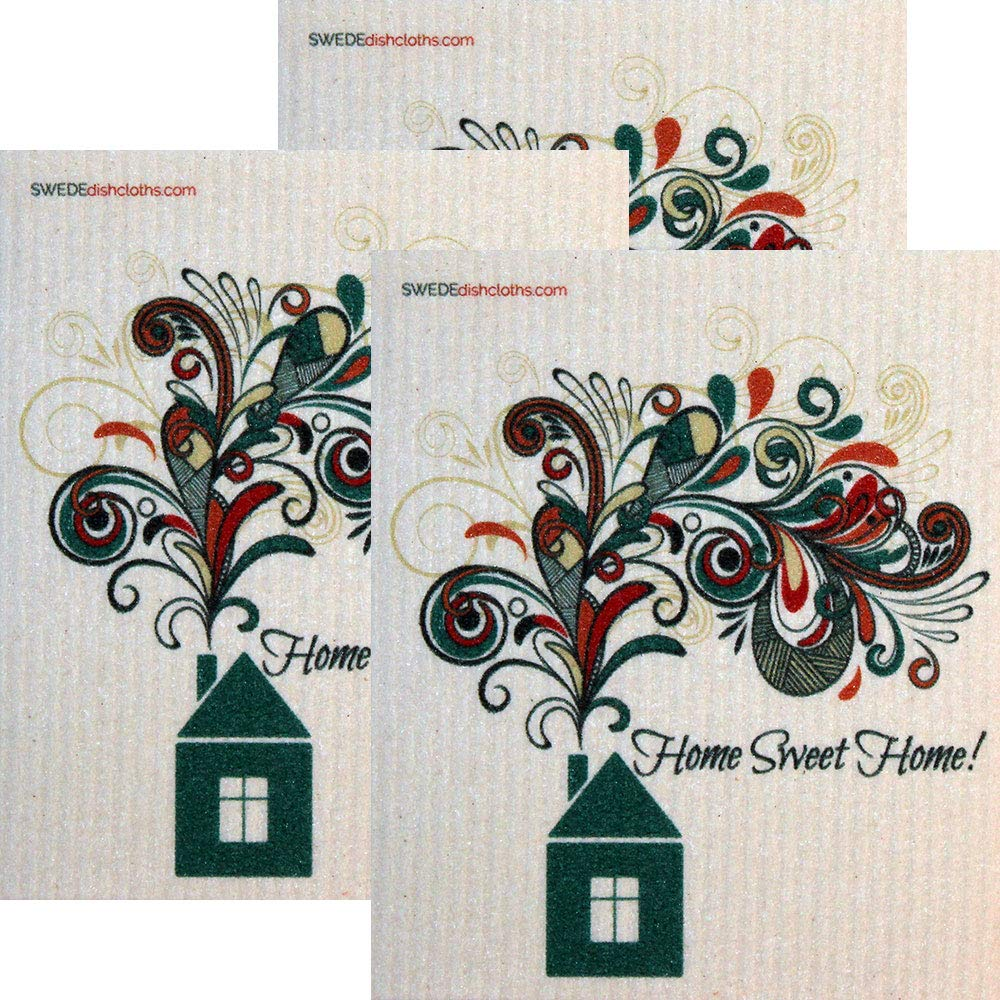 Home Sweet Home Set of 3 Each Swedish Dishcloths | ECO Friendly Absorbent Cleaning Cloth | Reusable Cleaning Wipes