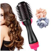 Hot Hair Brush 4 in 1 One-Step Hot Air Comb Volumizer Hot Air Brush Infrared Negative Ion Hair Dryer (NO1)(with two hair rings)