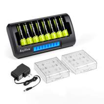 RayHom AA Rechargeable Batteries with Charger - 8 Bay Smart LCD AA AAA Ni-MH Ni-Cd Battery Charger with AA Rechargeable Batteries 1.2V 2800mAh (8 Pack)