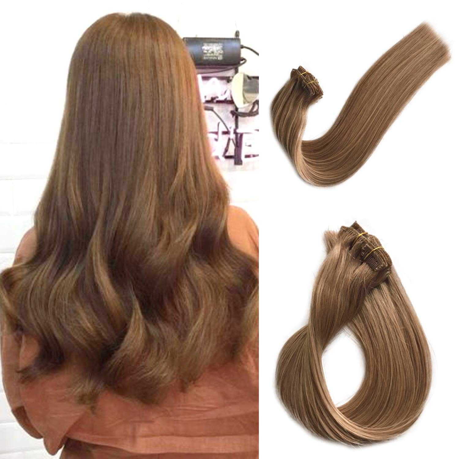 Clip in Real Remy Hair Extensions Human Hair Extensions Clip on for Black/White Women Double Weft Full Head Thicken from Top to End Glueless Straight Natural Golden Brown 70g 7pcs 16 Clips 18 Inch