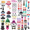 FRESHME DIY Photo Booth Props Kit - 90pcs Photobooth Prop Funny Selfie Accessories Decoration Supplies Costume Mustache Hat Glasses Tie for Birthdays Wedding Holiday Party Christmas Halloween