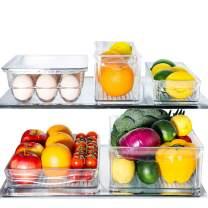 E-Gtong 5 Pack Clear Refrigerator Organizer Set, Plastic Fridge Storage Bins, Clear Freezer Organizer Set Including Egg Holder,BPA Free, Stackable,Clear