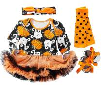 FANCYINN Baby Girls Halloween Costumes Tutu Outfit Pumpkin Long Sleeve Infant Party 4 Pieces Set