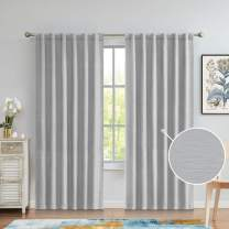 Back Tab/Rod Pocket Blackout Curtains 95 Inches Long, Embossed Textured Room Darkening Wide Window Treatment Drapes for Bedroom and Living Room, Gray, 52x95, 2 Panels