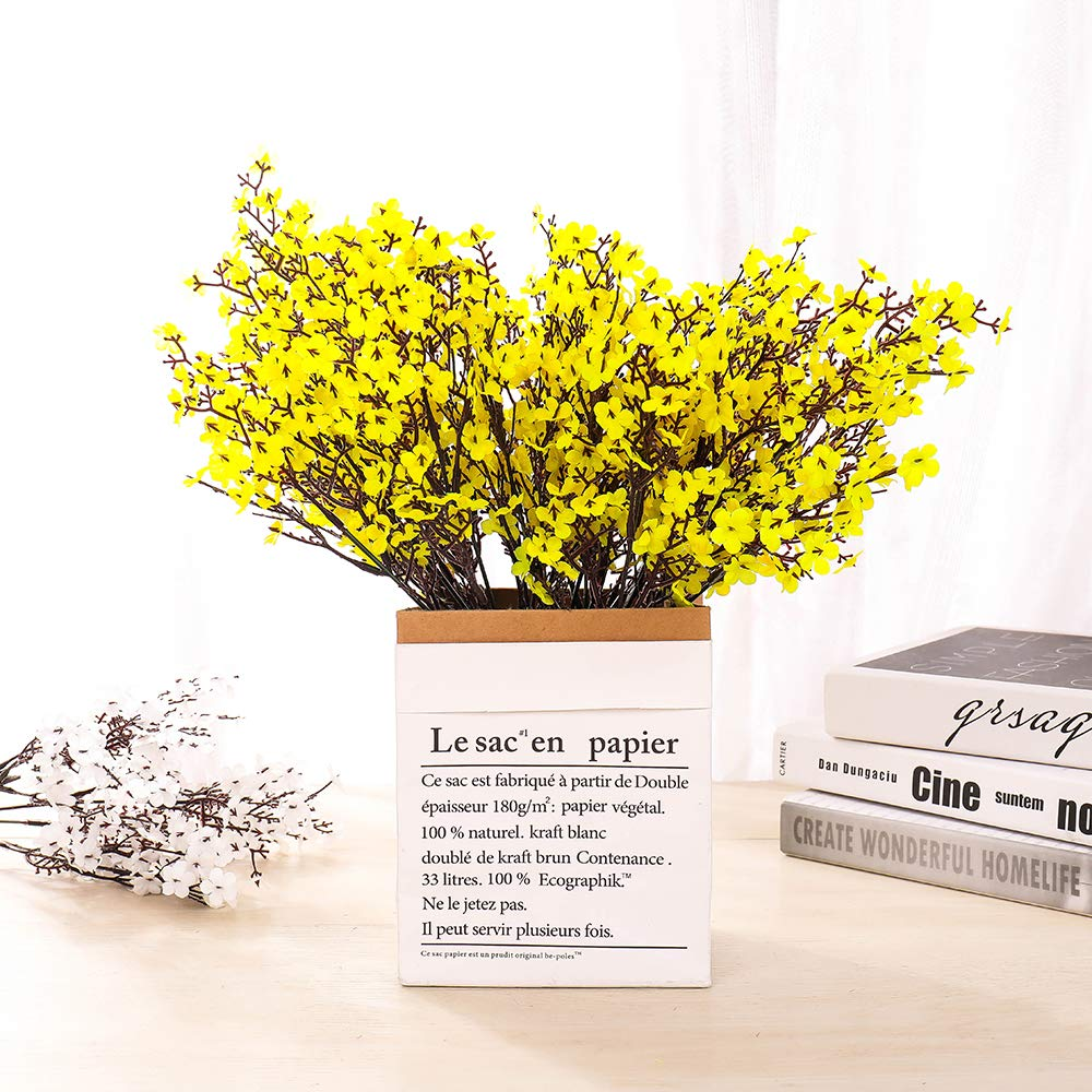 LUSHIDI 6PCS Artificial Baby Breath Flowers Fake Silk Real Touch DIY Floral Bouquets Decor Wedding Party Decoration Arrangements(Yellow)