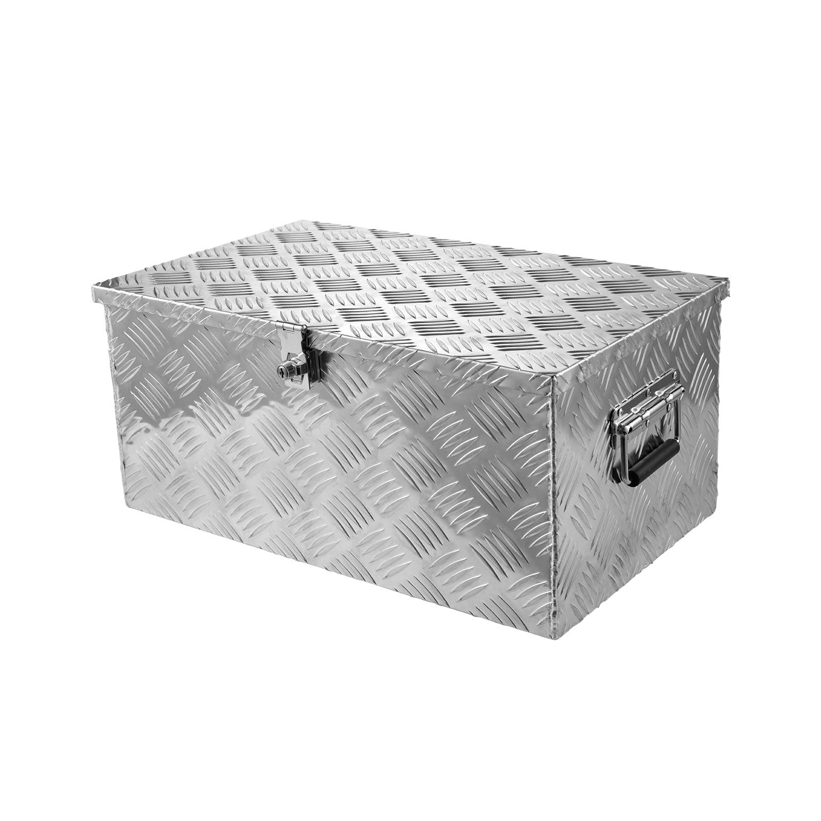 Aluminum Trailer Tool Box, Storage Toolboxes Truck Bed Toolboxes Organizer Side Handle, Lock w/ 2 Keys, Silver (30 inch White)