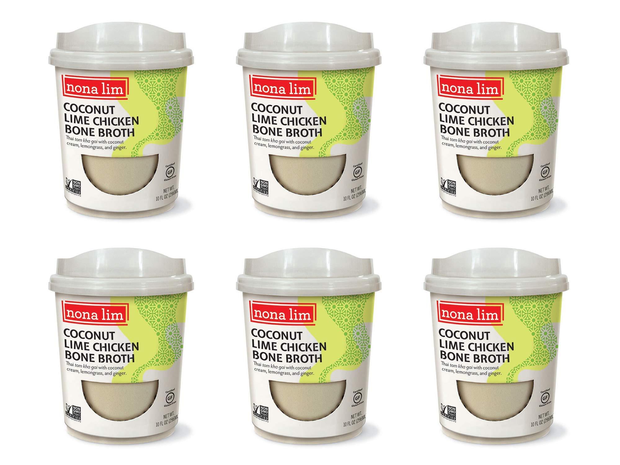 Nona Lim Bone Broth Heat & Sip Cups, Coconut Lime (10 oz, 6 Count) - Gluten Free, Dairy Free, Non GMO