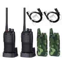 ODOM 4 Pack Two Way Radios Long Range Rechargeable Walkie Talkies for Adults - 16 Channels Handheld 2 Way Radio with Earpiece Headset (Black)