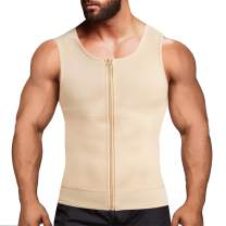 Eleady Men's Compression Shirt Undershirt Slimming Body Shaper Athletic Workout Shirts Tank Top Sport Vest with Zipper