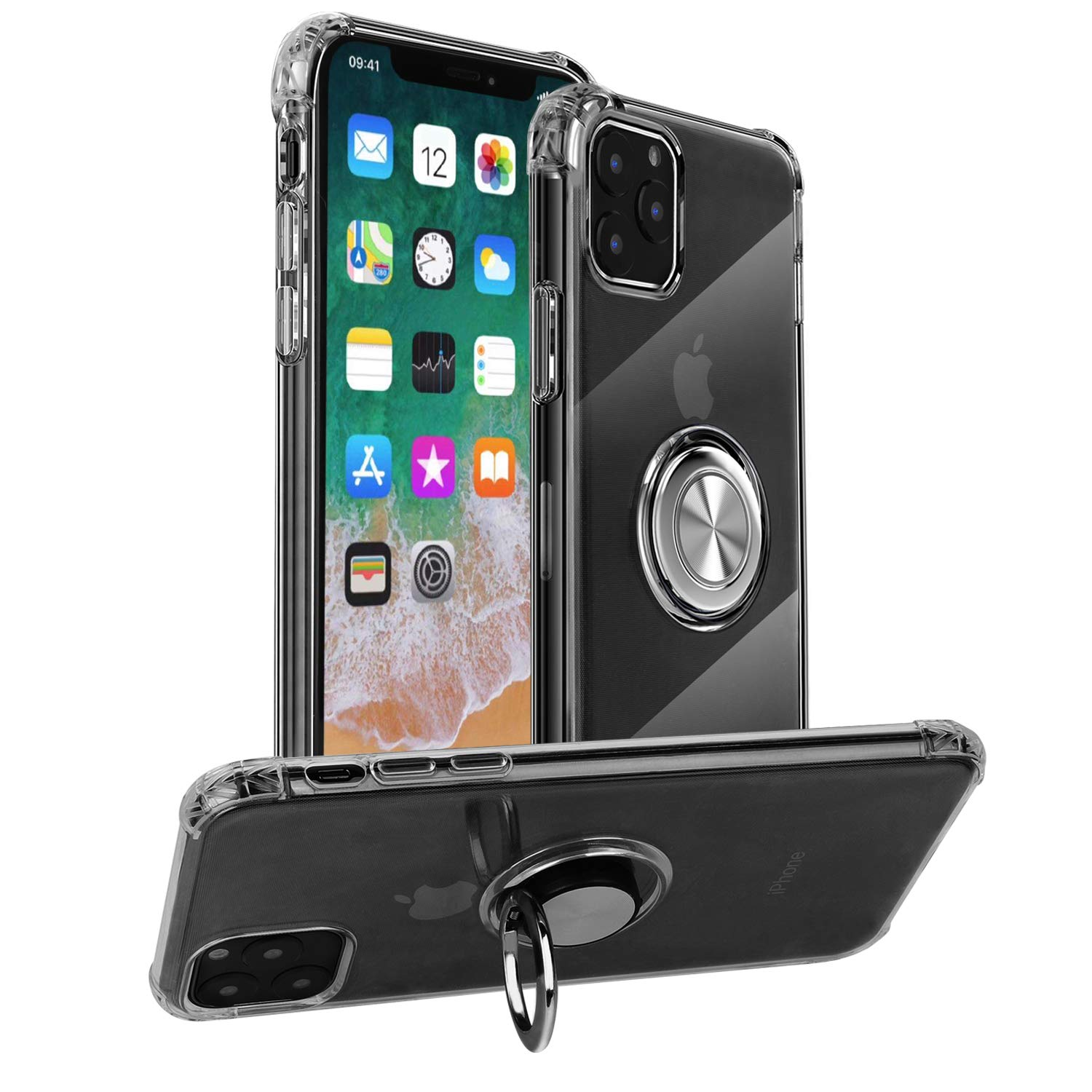 mgACC Clear Case for iPhone 11 Pro Case,with 360 Degree Rotation Pop-up Finger Ring Grip Holder Kickstand [Work with Magnetic Car Mount] for iPhone 5.8 inch(2019 Release)/Transparent