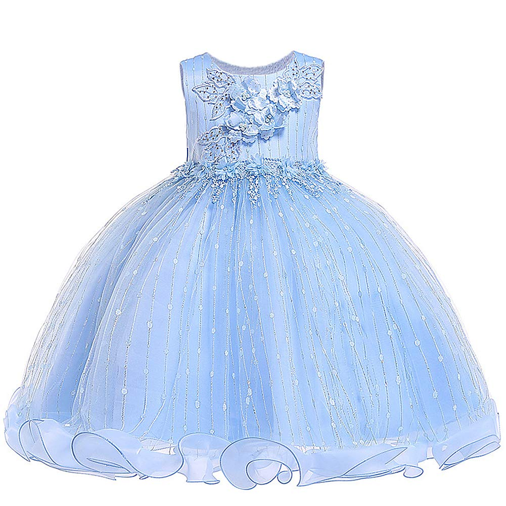 Girls Flower Dress Sleeveless Tulle Long Princess Lace Party Wedding Dresses Kids Ball Gown - Princess Blue 4-5 Years