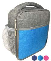 Lunch-Box Insulated Lunch-Bag for Kids Teens Adults, Premium Soft Lunch-Bags for School Work, Compact Small Leakproof Cooler Boxes for Boy or Girl, Adult or Teen, Water Bottle Holder, Grey Aqua Blue