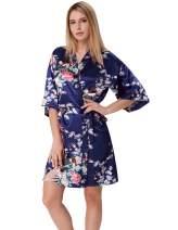 Zexxxy Women Kimono Robes Peacock and Blossom Print Silk Short Sleep Robe ZE0053
