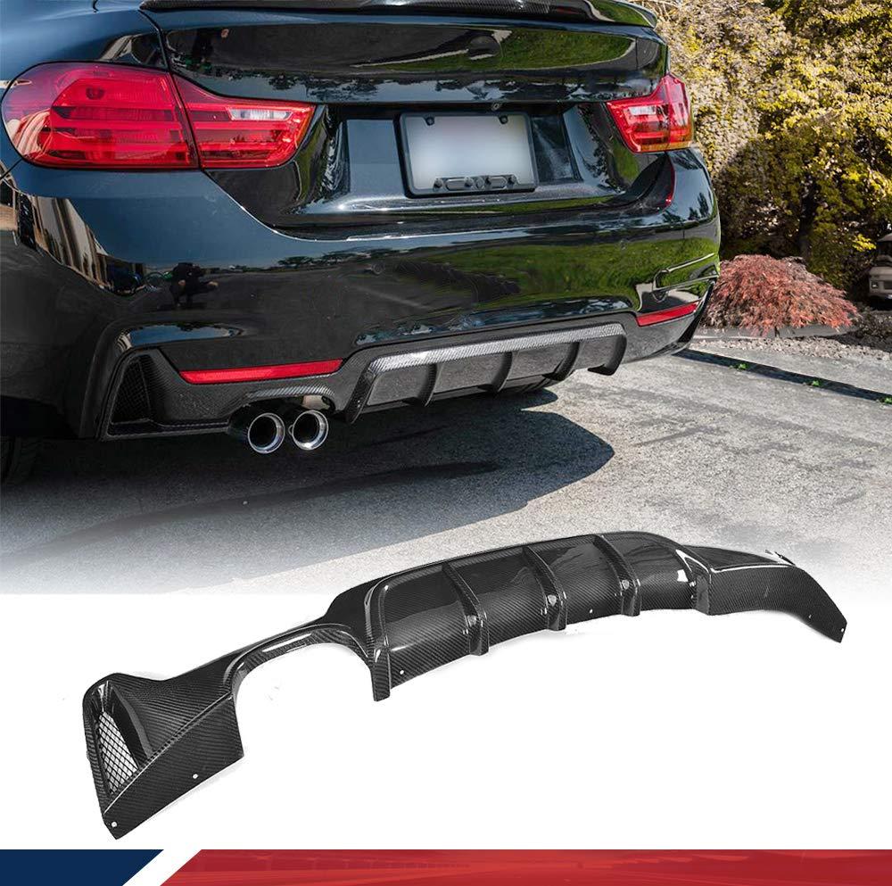 JC SPORTLINE fits BMW 4 Series F32 F33 F36 435i 420i 440i M-Sport 2-Door 4-Door 2013-2018 Carbon Fiber Rear Diffuser Bumper Cover Lip (Twin Exhaust Single Outlet)