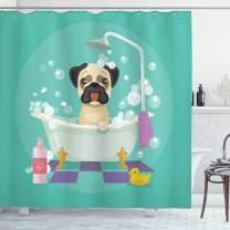 "Ambesonne Nursery Shower Curtain, Pug Dog in Bathtub Grooming Salon Service Shampoo Rubber Duck Pets in Cartoon Style Image, Cloth Fabric Bathroom Decor Set with Hooks, 75"" Long, Teal"